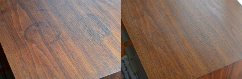 before after how to get water stains out of wood