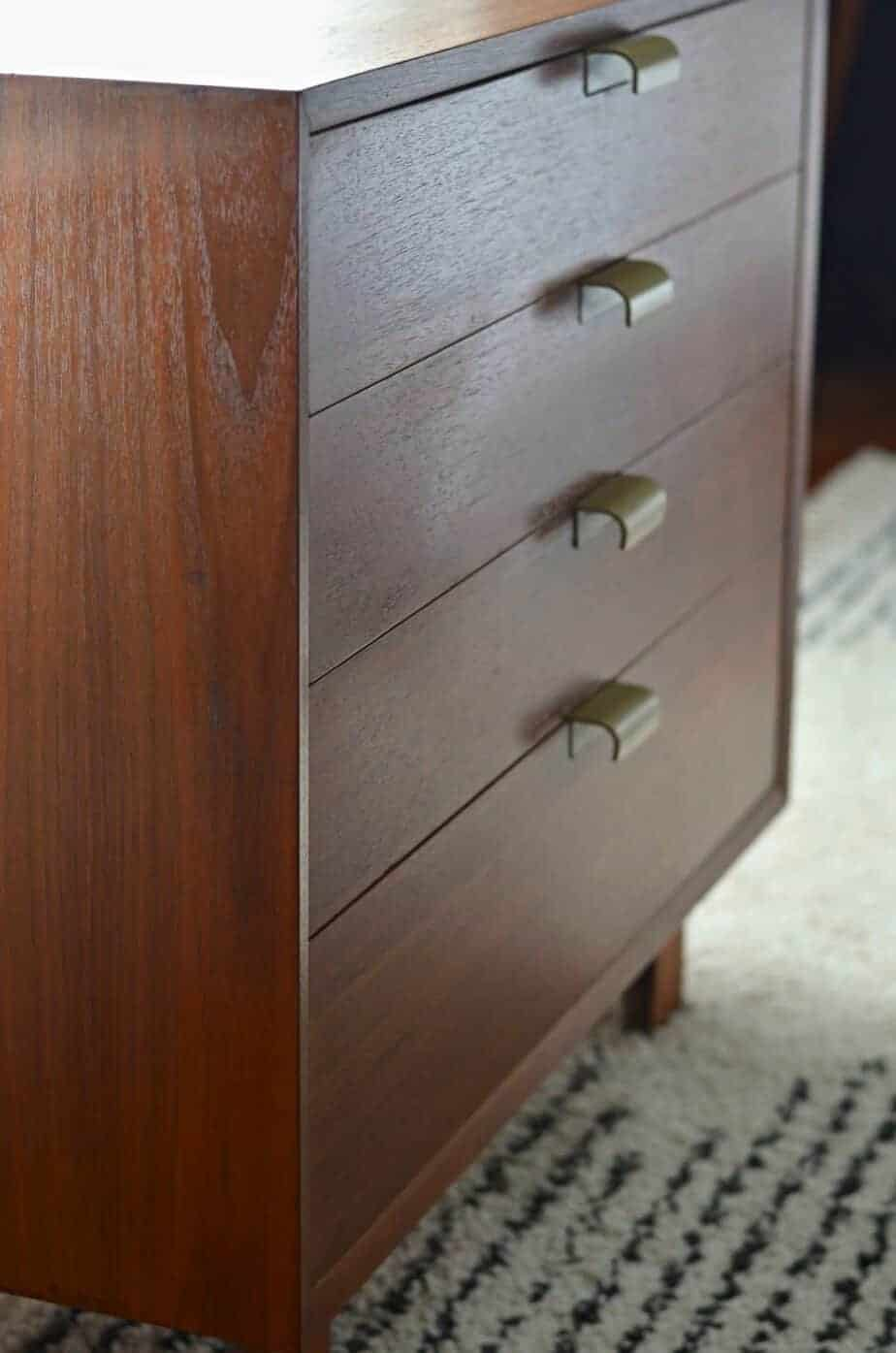how to revitalize damaged vintage wood furniture with Howards Restore-a-Finish on a mid-century modern dresser