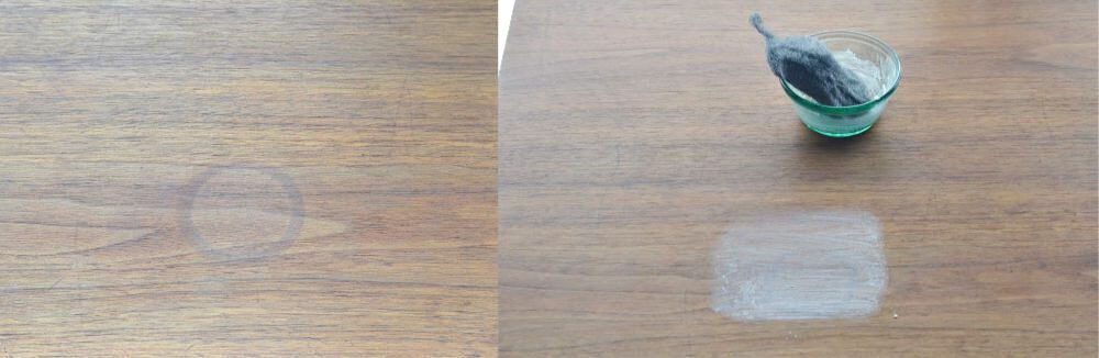 removing dark water rings from wood table top furniture