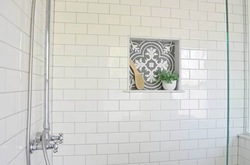 shower cubby with Merola Twenties medallion tile from Home Depot