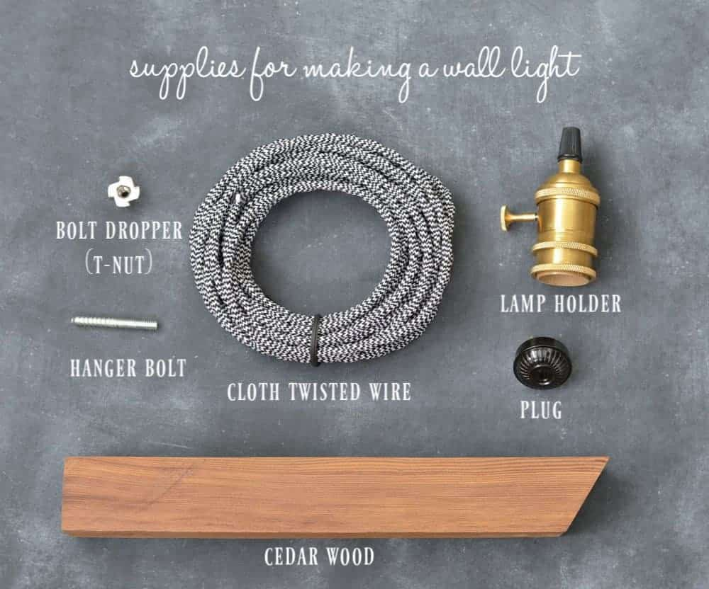 supplies you need for making a DIY industrial minimalist wall sconce pendant light