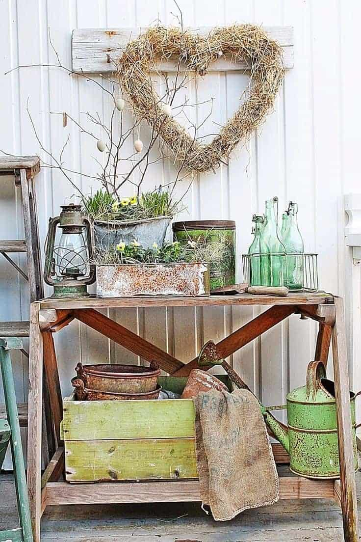 Beautiful Spring vignette and decor by Vibeke Design using green
