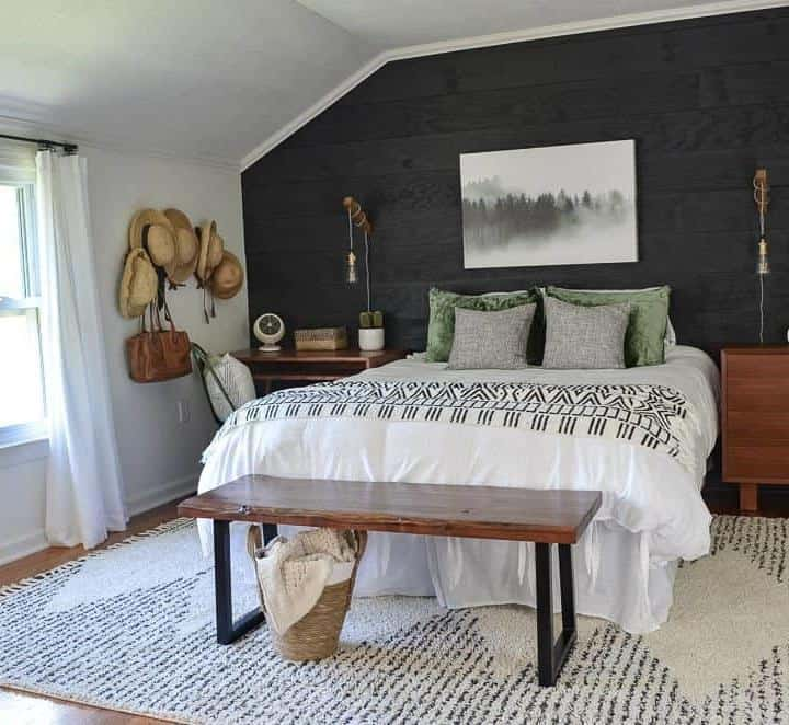 black shiplap cozy minimalist guest bedroom reveal
