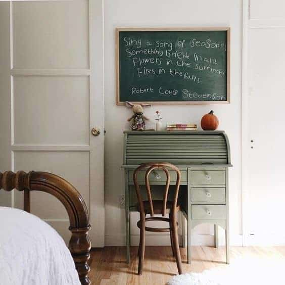 green desk and chalkboard by The Small Folk on Instagram