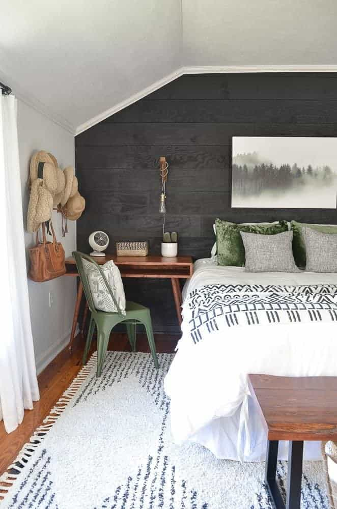 green black and white guest bedroom makeover