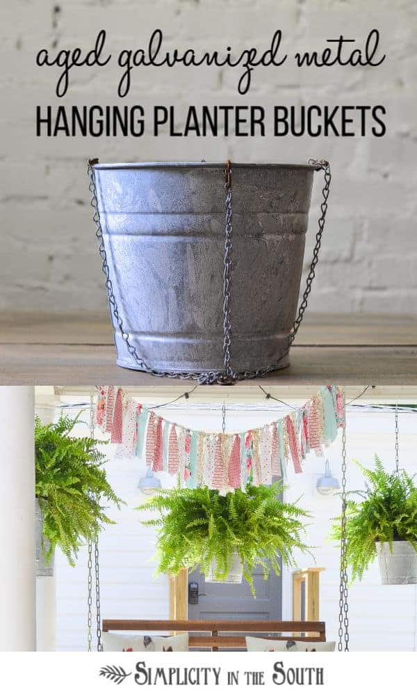 porch decorating idea using aged galvanized buckets as hanging planters