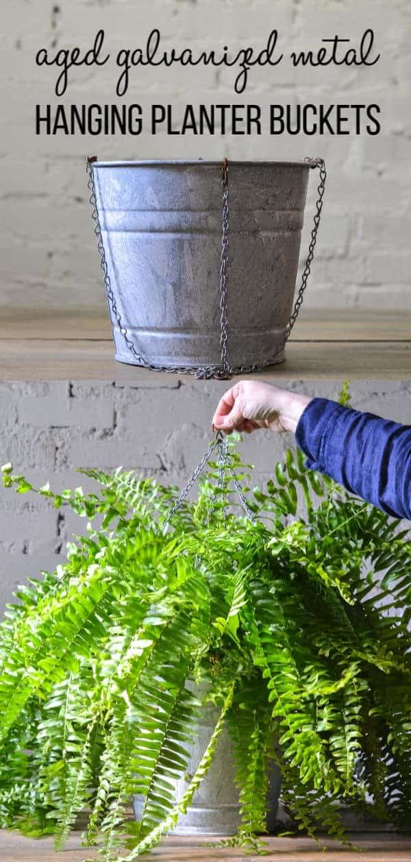 how to age metal and make hanging planter buckets