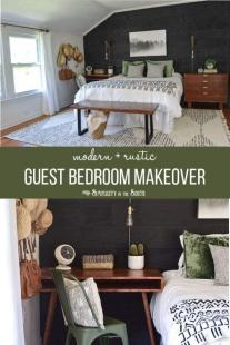 black white and green guest room makeover