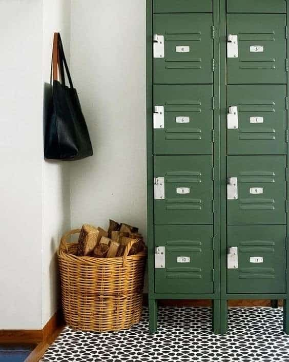 painted green lockers Cedar and Grey Interiors on Instagram