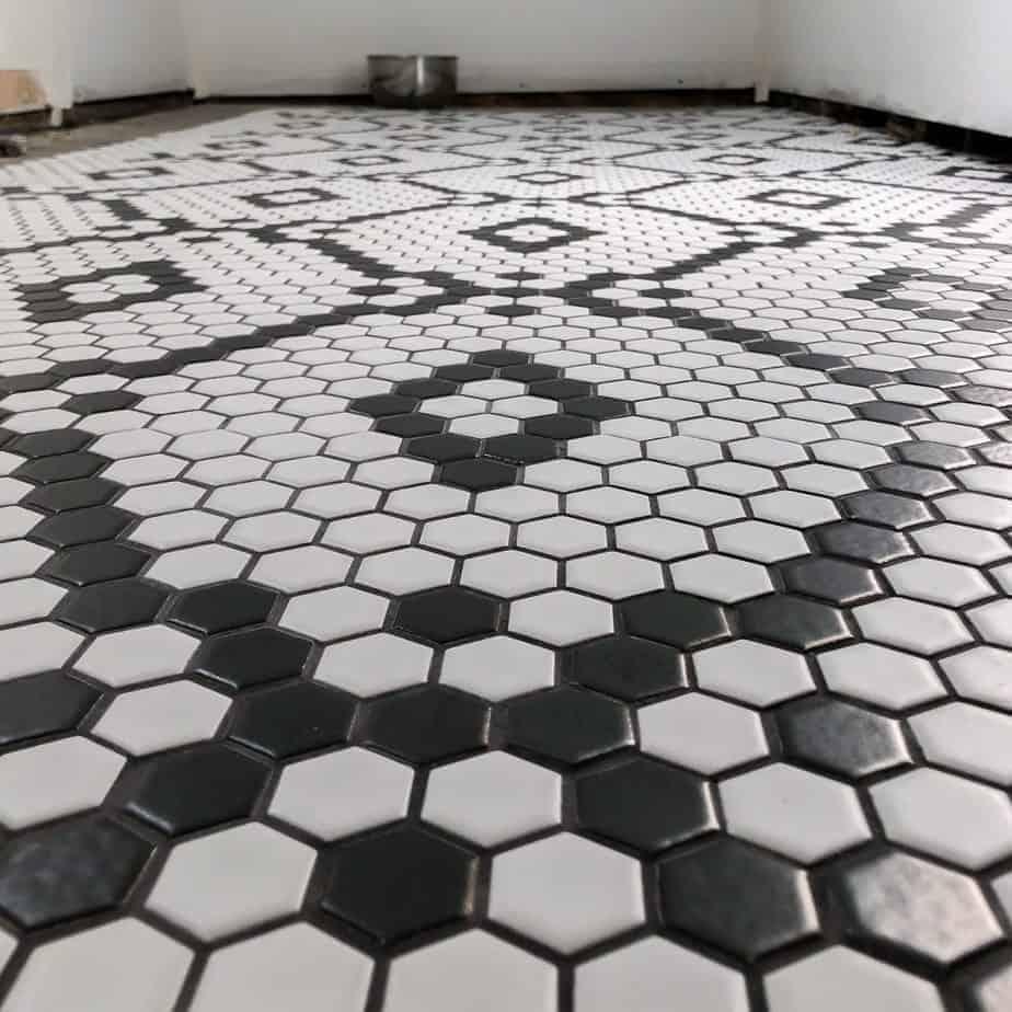 black and white hexagon diamond tile