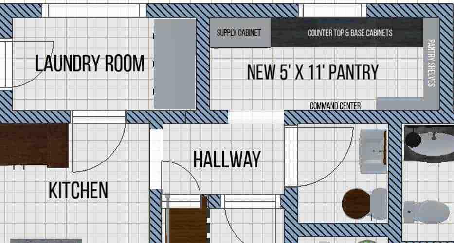 new walk-in pantry floor plan