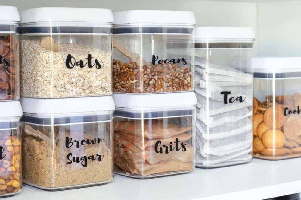 labeled pantry storage containers
