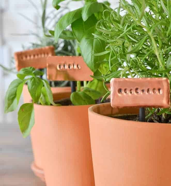 make your own stamped copper herb garden markers