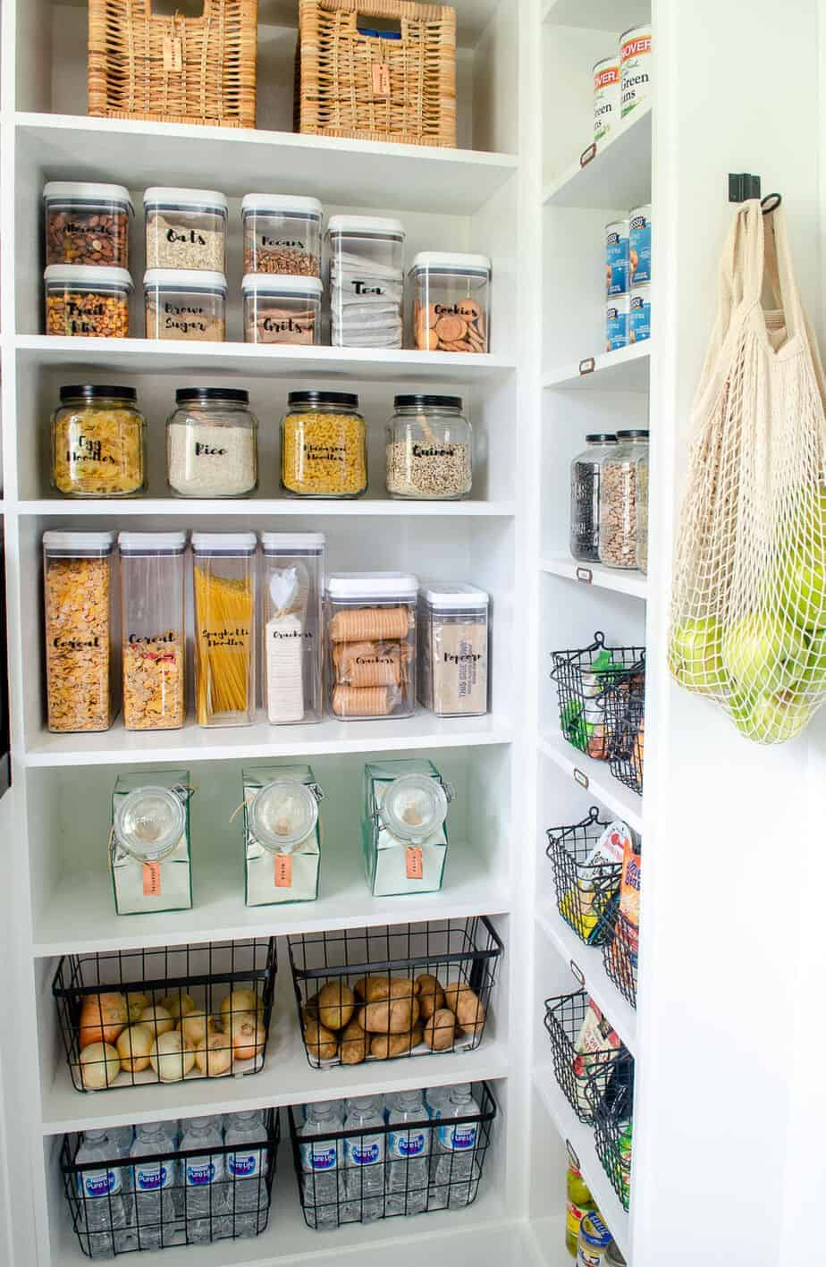 pantry shelving with labeled containers and jars