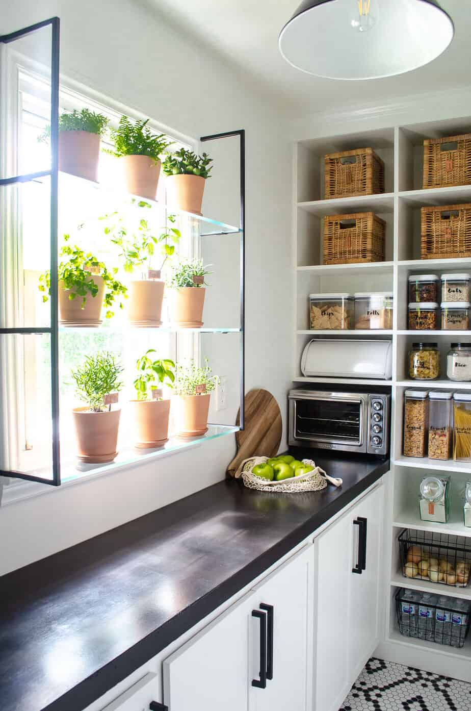 pantry with window herb garden shelf