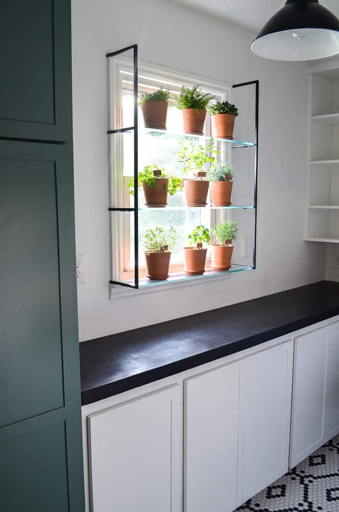 plant shelf for a window herb garden