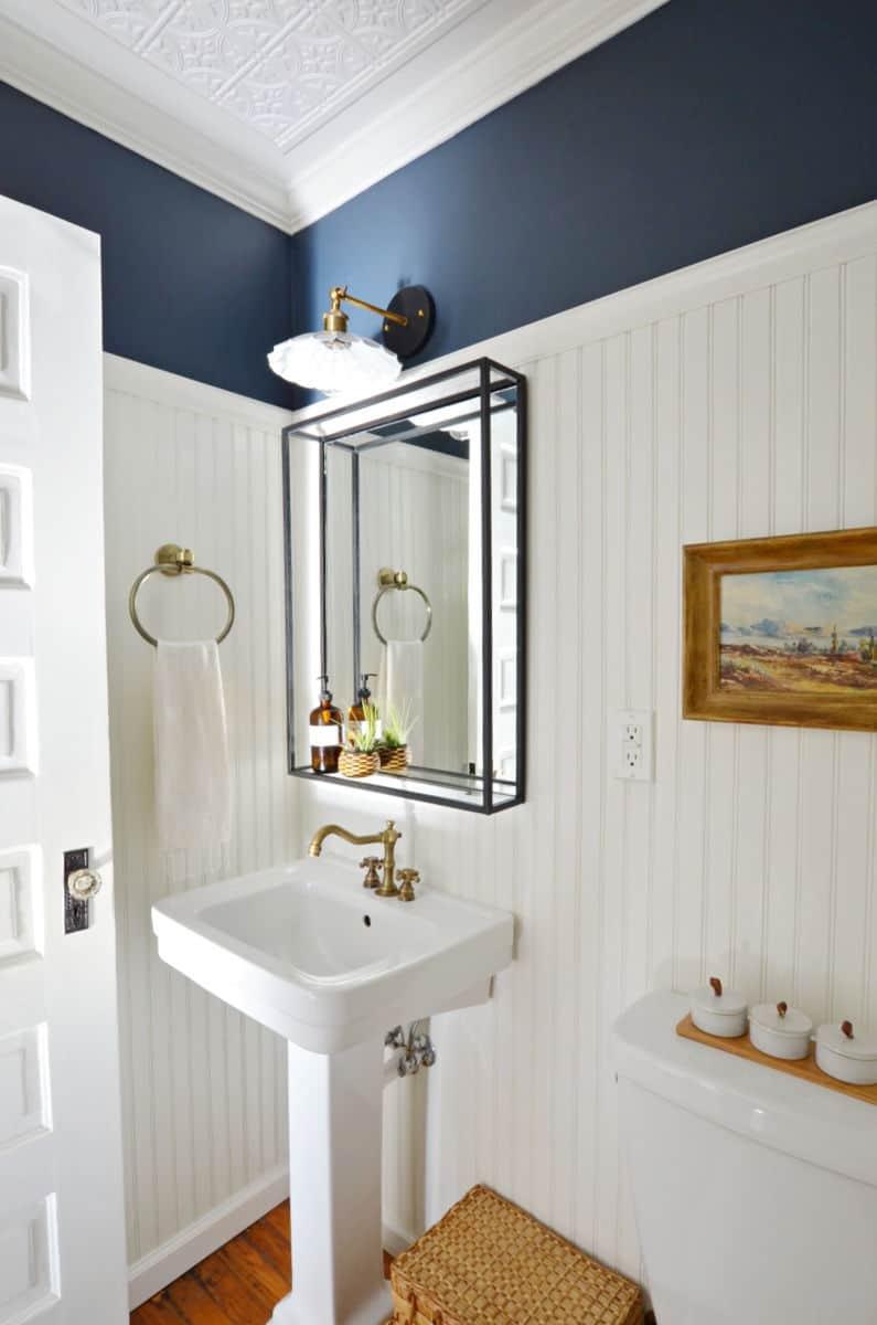 Modern Industrial Black Steel Metal Framed Bathroom Mirror ...