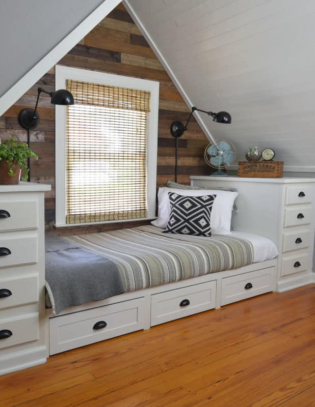 dormer bedroom with built in bed
