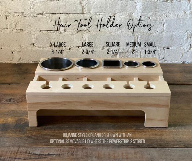 custom curling iron and hairdryer drawer organizer