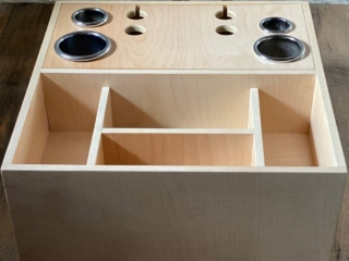 The Keira Custom under-the-vanity-cabinet pull out hair tool organizer