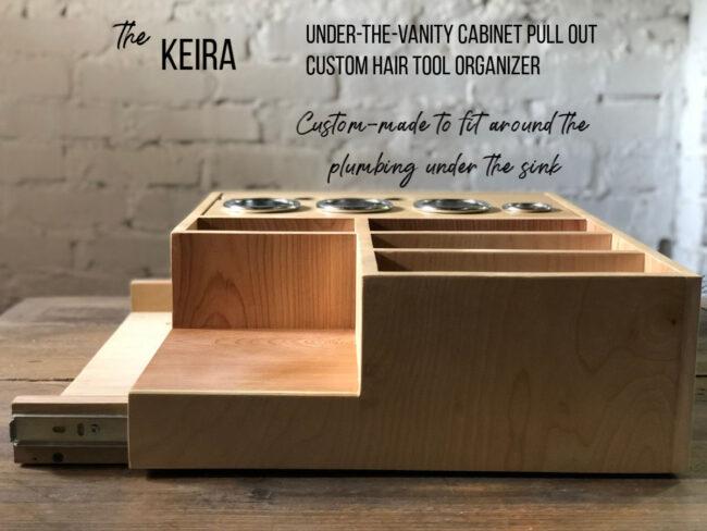 Custom hair slide out hair tool organizer for bathroom vanity cabinets The Keira