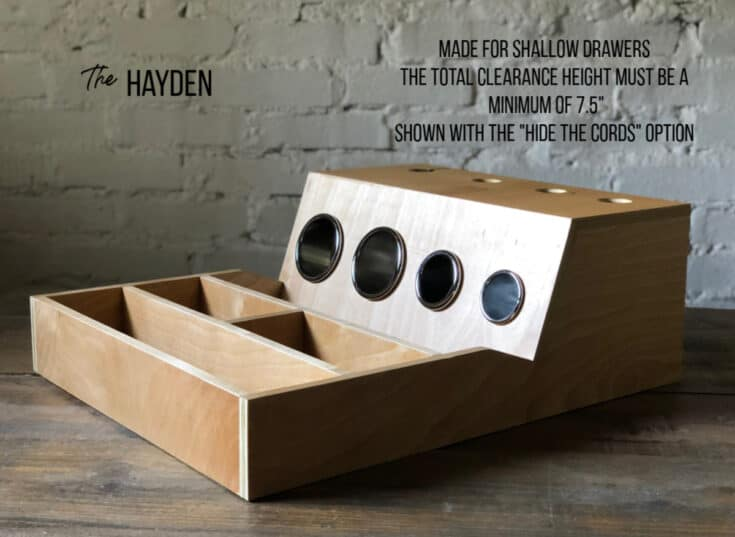 """The Hayden hair tool drawer organizer shown with the """"hide the cords"""" option made for shallow drawers with a minimum clearance height of 7.5"""""""