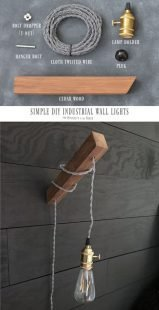 How to make a plug in industrial minimalist wooden wall sconce light.
