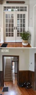 before and after installing french doors with a transom window