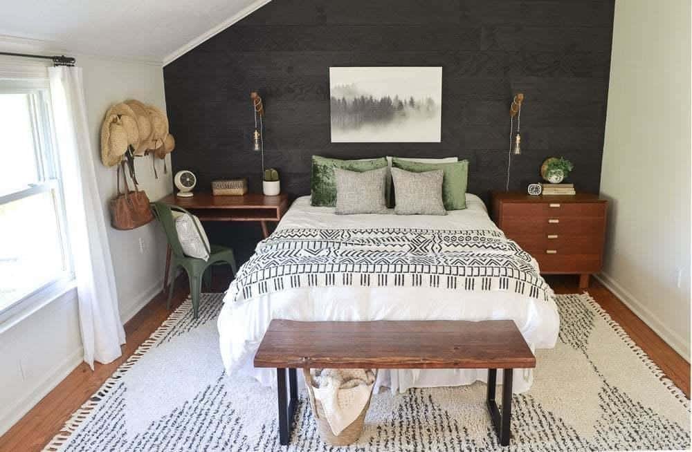 cozy minimalist black shiplap guest bedroom reveal