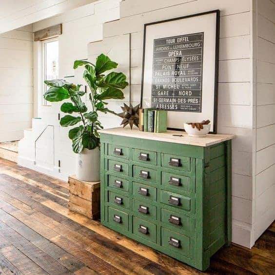 green cabinet and rustic floors by olliepop_design