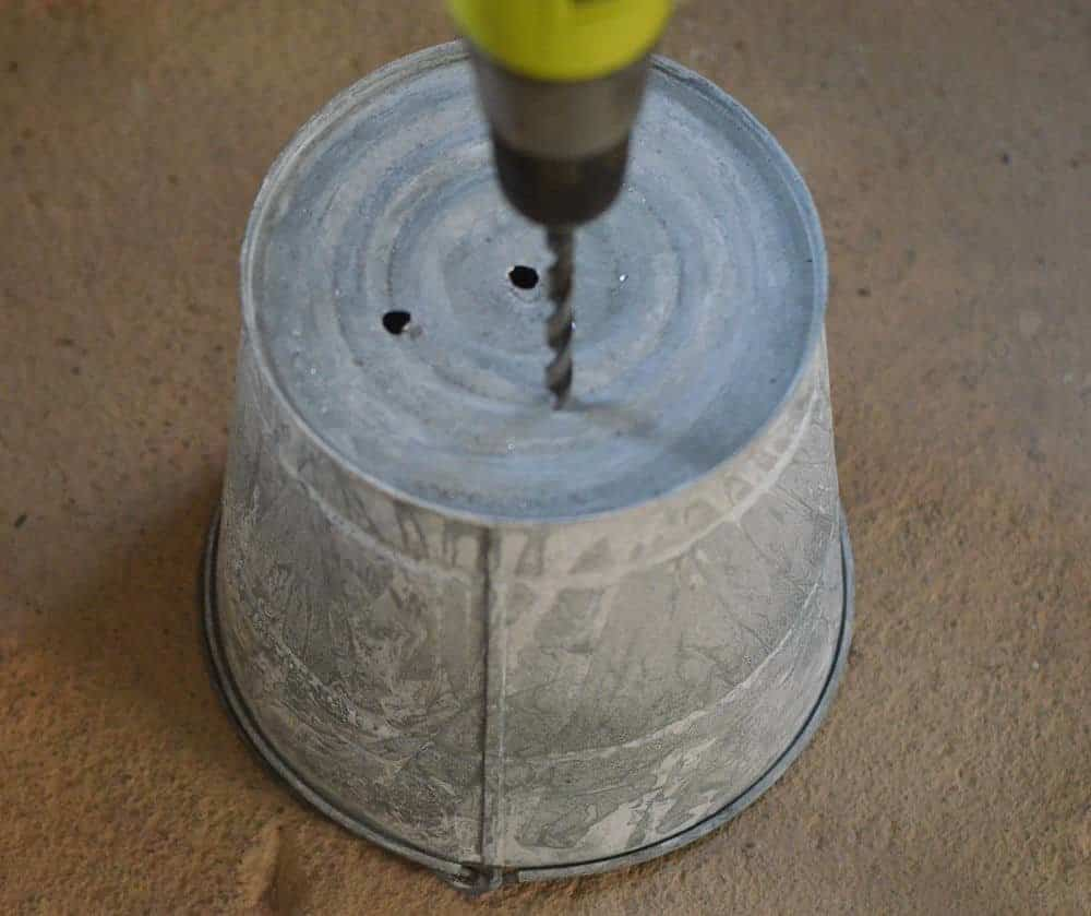 how to make a galvanized bucket hanging planter-drill holes