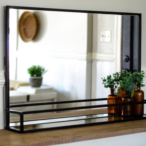 modern metal pharmacy mirror with shelf