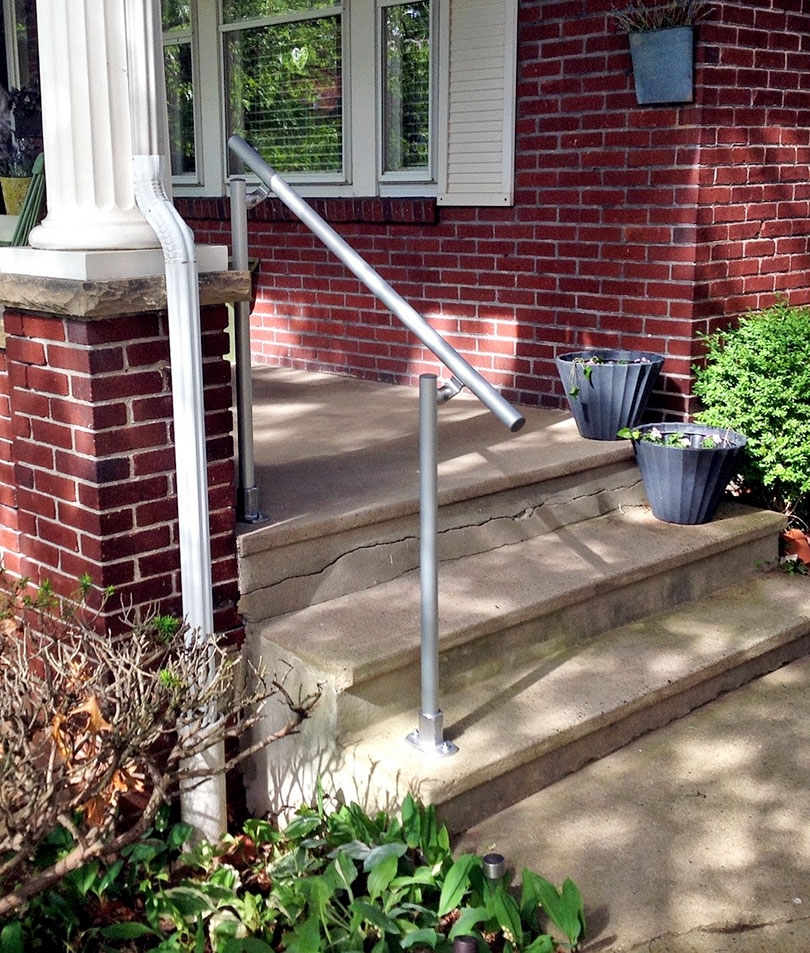 13 Outdoor Stair Railing Ideas That You Can Build Yourself | Outside Steps For Seniors | Dreamstime | Stair Treads | Handrail | Stainless Steel | Walkway