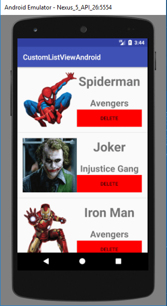 custom listview android