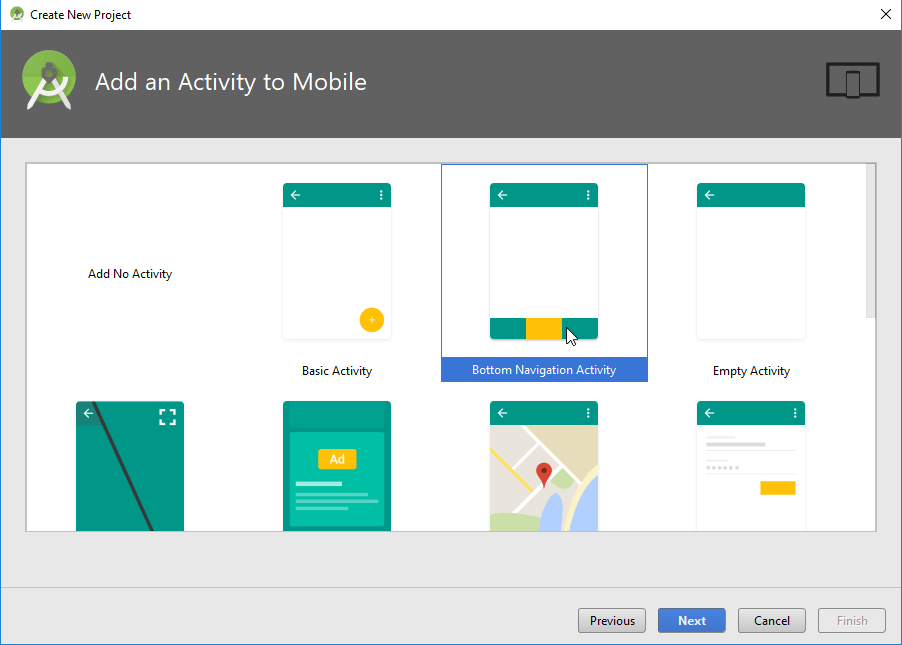 Bottom Navigation Android Activity from Templates