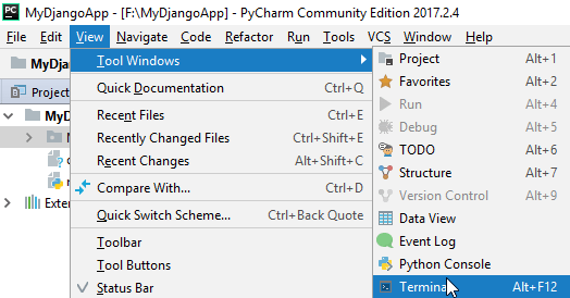 terminal in pycharm