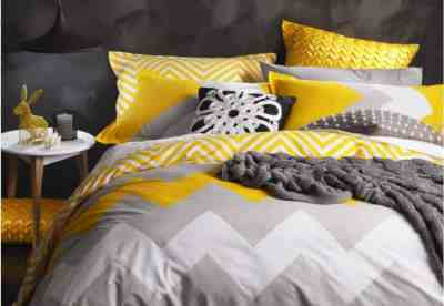 grey and yellow quilt set
