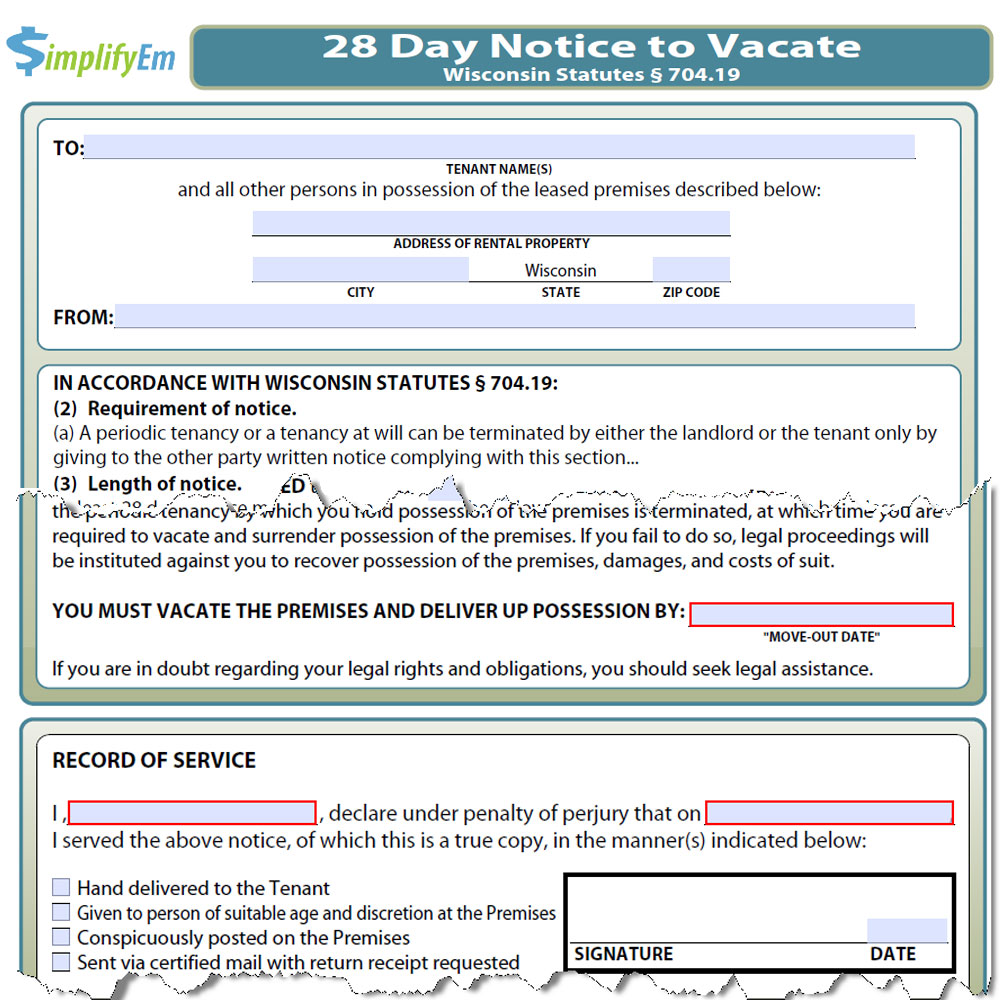 California Notice Day 60 Vacate