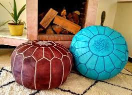 Blue & brown leather pouf