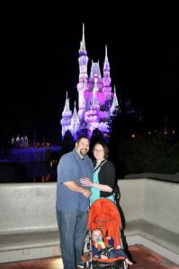 Disney six months pregnant and with a 9 months old in tow.