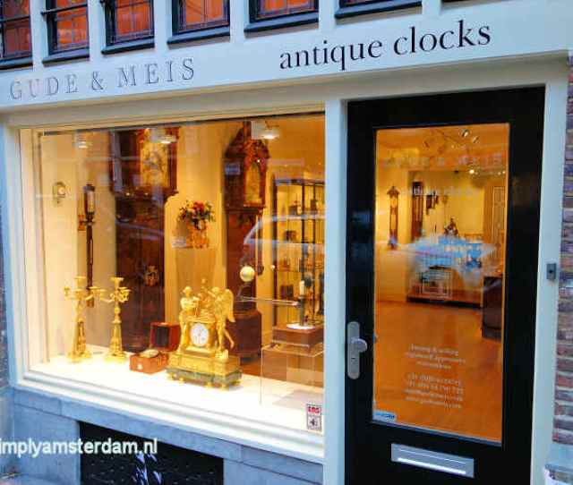 Store In Spiegelstraat With Antique Clocks