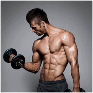 picture of a anavar user bicep curling