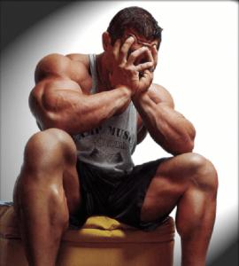 depressed bodybuilder suffering from shutdown