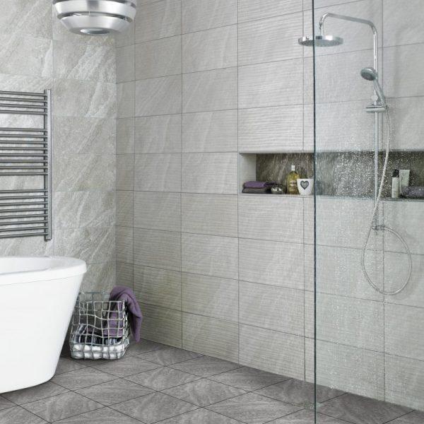 ditto diana wave grey ceramic wall bathroom tiles 248x498 box of 8