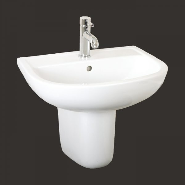 compact 550mm basin half pedestal 1 or 2 tap hole