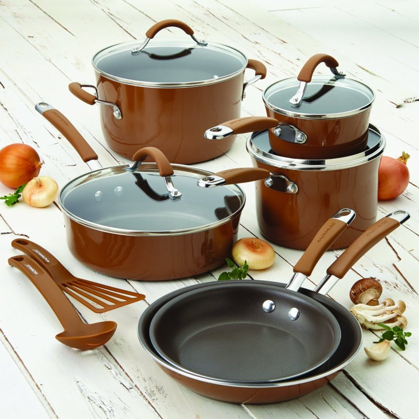 Rachael Ray Pots and Pans Set - Mushroom Brown