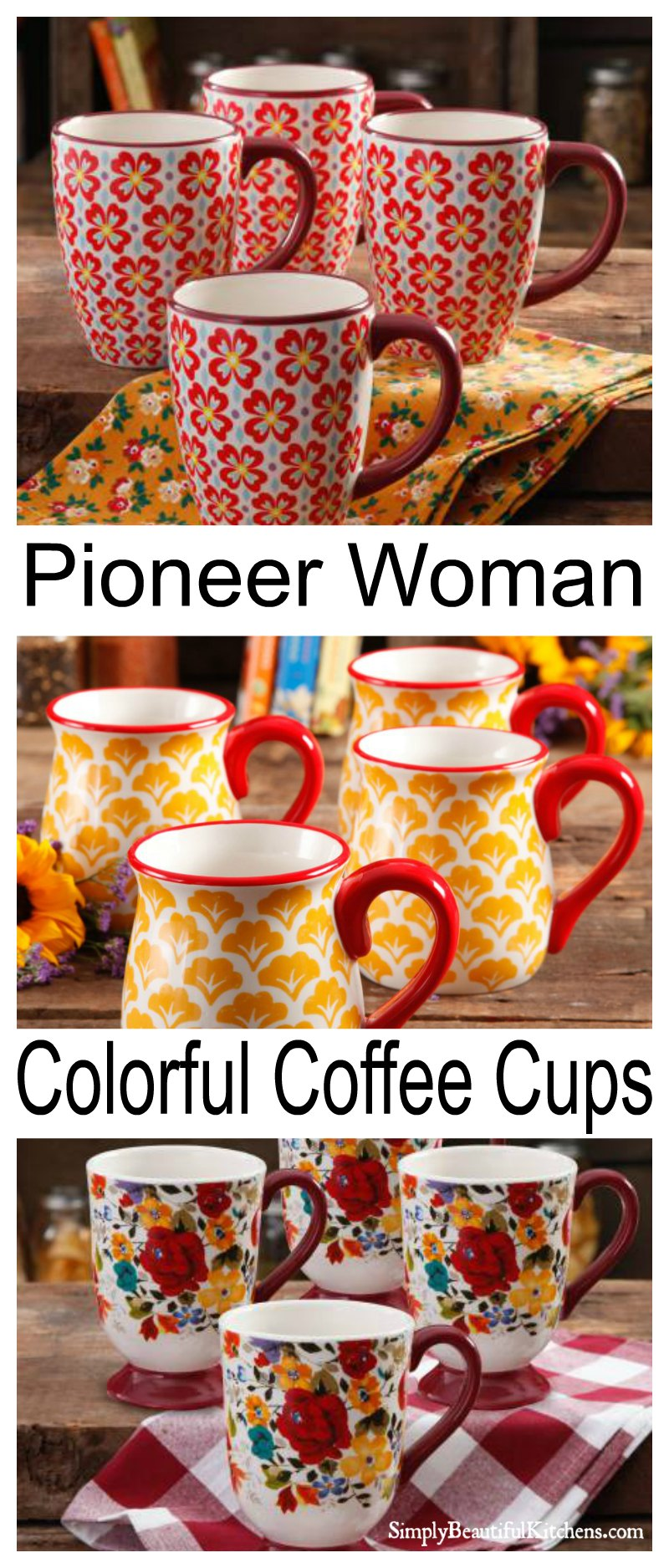 Pioneer Woman Coffee Cups are perfect for coffee, tea or any hot beverage. So pretty and yet so useful. What is your favorite color?