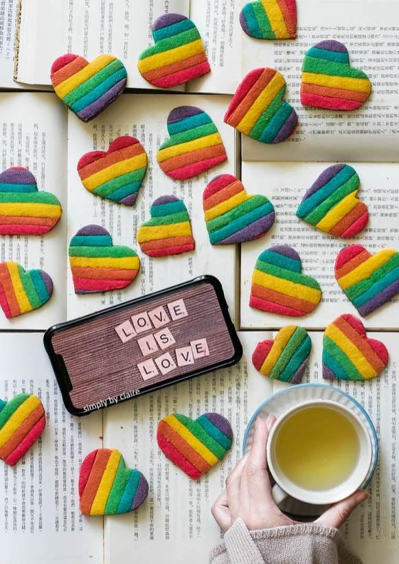彩虹愛心餅乾
