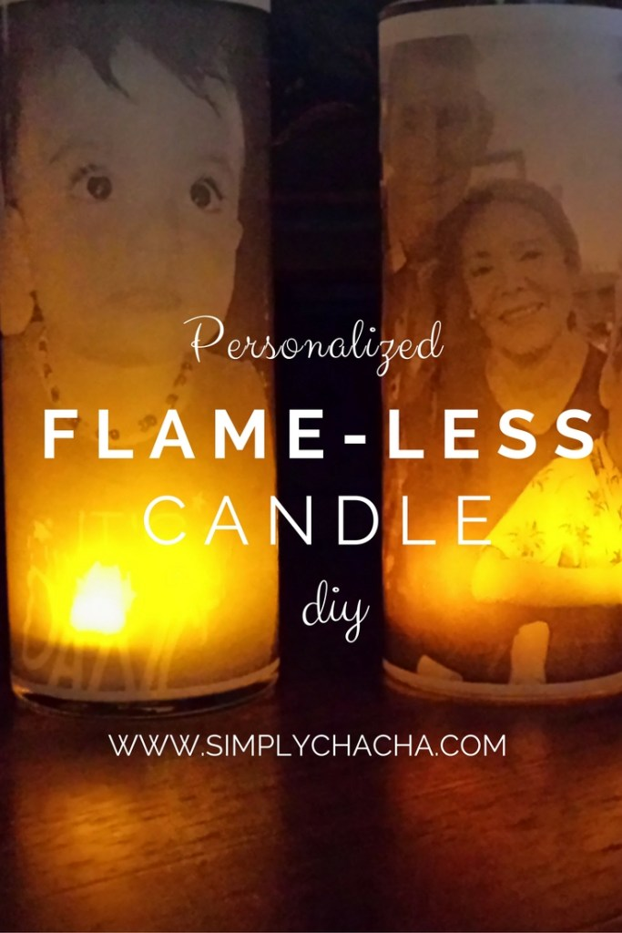 Personalized flame-less candle diy. Super easy & cheap to make. makes the BEST gifts for Christmas, birthdays, mothers day, anniversaries and more