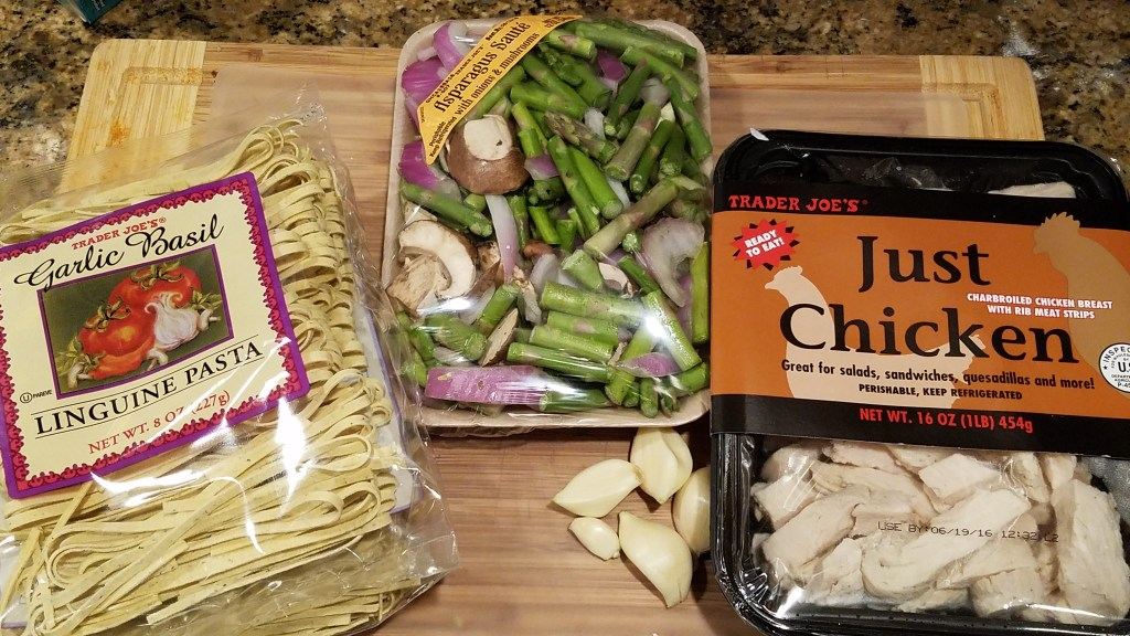 One Pot Meal - Parmesan pasta recipe Trader Joe's garlic basil linguine, , just chicken, asparagus saute
